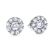 18K white gold earrings known as   Fulfillment round earrings   by Hearts On Fire set with:  -1.05 cttw ideal; round brilliant cut Hearts On Fire diamonds