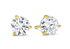 18K yellow gold earrings   Three prong Stud Earrings   by Hearts On Fire. Set with:  - 2*= 0.38 - 0.44cttw; I/J; VS-SI