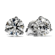18KW 3 prong stud earrings by Hearts On Fire set with: - 2* RBC by Hearts On Fire; 1.00cttw; I/J; VS-SI laser engraved on the girdle   HOF 0.50