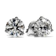 18K white gold stud earings 2=1.02cttw HOF diamonds I/J VS2-SI1