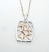 14K white and rose gold pendant by Studio Tzela set with:  - 3*=0.093cttw Hearts On Fire diamonds SI1/VS2; H