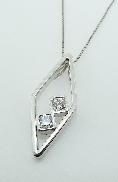 18K white gold pendant by Studio Tzela set with: - 2*=0.367cttw Dream cut diamonds VS F/G