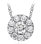 18KW   Fulfillment round pendant   by Hearts On Fire. 18   long. Set with:  - 11*= 0.48cttw round brilliant cut diamonds by Hearts On Fire