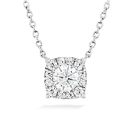 18K white gold pendant   HOF Custom halo   by Hearts On Fire set with:  - 13*= 0.24cttw  on 18: long chain
