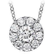18K white gold pendant; known as  Fulfillment Pendant Necklace  by Hearts On Fire -set with ideal round brilliant cut diamonds by Hearts On Fire; 0.25 carat total weight; VS-SI; I/J