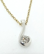 14K white gold diamond pendant by Studio Tzela set with HOF139131 I VS2 0.332ct
