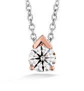 18K White Gold pendant; known as;   Aerial Single Diamond Pendant   by Hearts On Fire Set with an ideal round brillian cut diamond by Hearts On Fire 0.24 carat I/J VS/SI