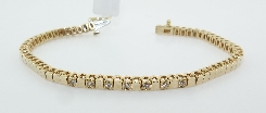 14KY bracelet set with 7 ideal cut; round brilliant cut Hearts On Fire diamonds; 0.186cttw; G/H; VS-SI