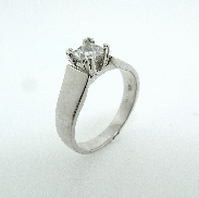18 K white gold Diamond Engagement Ring by Troy Shoppe Design Set with:  -0.52ct F; SI1 Firemark Princess