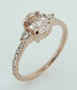 14KR CG ladies ring set with: - 0.552ct Morganite  -16 RBC diamonds; 0.205cttw; I/J; SI2; excellent cut