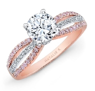 18K rose and white gold engagement ring; set with 1.0 carat CZ. Accented with 34 round brilliant diamonds totaling 0.13 carats and 44 pink round brilliant cut mdiamonds totaling 0.16 carats. Designed by Natalie K