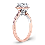 18K rose and white gold engagement ring by Natalie K; set with 1.5 carat CZ. Accented with 50 H-I SI round brilliant cut diamonds totaling 0.36 carats.
