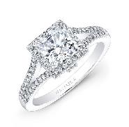 18 karat white gold diamond engagement ring by Natalie K set with: - 0.75 ct cz princesss centre - 74 round brillant cut diamonds - 0.40 cttw