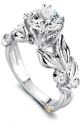 14K white gold   Flora   Mark Schneider Engagement Ring -centre: Cubic Zirconia -accented with side diamonds; 0.065 carat total weight; VS-SI; G/H