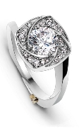 14K white gold ring; size 6.5; known as   Reverie/ Flutter hand engraving side soft   by Mark Schneider; set with 0.75 carat CZ.
