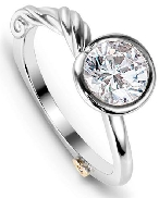 14K white gold; size 6.5; known as   Grace   by Mark Schneider; set with 0.50 ct CZ.