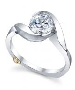 14K white gold; known as   Lilac   engagement ring by Mark Schneider; satin finish. 1.0 carat CZ