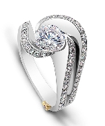 14K white gold engagement ring; known as  Brilliance  by Mark Schneider -centre: Cubic Zirconia -accented with side diamonds; 0.515 carat total weight; VS-SI; G/H