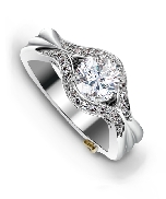14 karat white gold engagement ring by Mark Schneider designs; known as   Imagine   Set with a 0.75 carat cubic ziconia.  Accented with 27 round brilliant cut diamonds; 0.205 carat total weight.