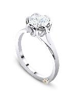 14 karat white gold Mark Schneider engagement ring known as   Petal   set with: - 1.5 carat CZ