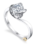 14K white gold engagement ring by Mark Schneider called   Rose   set with: - 0.145cttw - 1ct CZ center