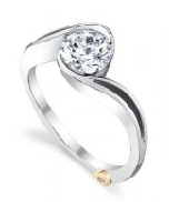 14K white gold; known as   Aerial   engagement ring by Mark Schneider; semi-bezel set with 1.00 CZ center.