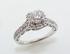 14K white gold engagement ring set with: - 0.73ct fire cushion; G; SI1; Excellent cut; GIA:5172190626 - 48* = 0.324cttw; G/H; SI1-2