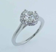 14K white gold halo engagement ring 16=0.16cttw diamonds SI G/H Q10-56-113 1.01ct fire cushion H VS2 Excellent cut GIA:5171210213