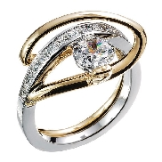 14K white gold engagement ring; by Ancora Set with:     -Center: CZ     -accented with princess cut side diamonds; 0.61 carat total weight; G/H; VS-SI