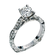 14K white gold engagement ring by Ancora Set with;     -Center: CZ     -accented with round brilliant cut diamonds; 0.17 carat total weight; G/H VS-SI
