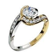 14K white and yellow gold engagement ring; by Ancora Set with:     -Center:  CZ     -accented with round brilliant cut side diamonds; 0.34 carat total weight; G/H VS-SI