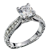 14K white gold diamond engagement ring by Ancora set with:   - 0.75ct CZ center  - 18*-0.28cttw side diamonds