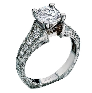 14K white gold engagement ring; by Ancora Set with:     -Center: CZ     -accented with round brilliant cut side diamonds; 0.45 carat total weight; G/H; VS-SI