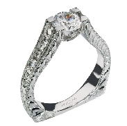 14K white gold engagement ring by Ancora Set with:     -Center: CZ     -accented with round brilliant cut side diamonds; G/H; VS-SI