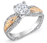 14 karat white and rose gold diamond engagement ring by Ancora set with: - 0.75 carat CZ - 52 = 0.17 cttw