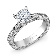 14K white gold diamond engagement ring by Ancora set with:   - 1.00ct CZ center - 16-0.12cttw diamonds