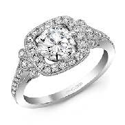 14KW diamond engagement ring set with: - 0.75ct CZ  - 38 RBC diamonds; 0.33cttw; G/H; SI very good cut