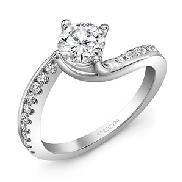 14KW diamond engagement ring set with: - 0.75ct CZ - 20 RBC diamonds; 0.29cttw; G/H; SI very good cut