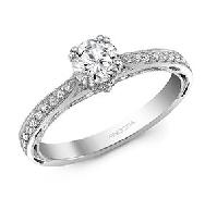 14K white gold ring 0.50ct CZ 18=0.15cttw Diamonds G/H SI VG cut
