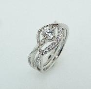 14K white gold ring set 0.40ct CZ 22=0.12cttw Diamonds G/H SI VG cut