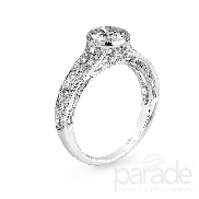 18 karat white gold engagement ring; known as   Hera Bridal   by Parade Designs. Set with Cubic Ziconia center. Accented with 14 very good cut side diamonds; G/H; SI; 0.12 carat total weight.