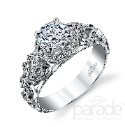 18 karat white gold engagement ring; part of the   Hera Bridal   collection by Parade Designs. Set with cubic zirconia center. Accented with 26 very good cut side diamonds; 0.20 carat total weight; G/H; SI.