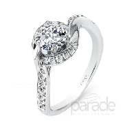 18 karat white gold engagement ring; part of the Hemera Bridal Collection by Parade Designs. Set with CZ Center. Accented with 26 very good cut diamonds; 0.27 carat total weigh; SI; G/H.