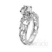 18 karat white gold engagement ring; part of the Hera Bridal Collection by Parade Designs. Set with CZ Center. Accented with 22 very good cut diamonds; 0.09 carat total weight; G/H; SI.
