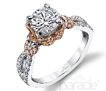 18 karat white and rose gold engagement ring; known as   Hemera Bridal   by Parade Designs. Set with Cubic Ziconia center. 1.25ct Accented with round brilliant cut diamonds; 0.28 carat total weight; G/H VS-SI