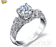 18 karat white gold engagement ring; known as   Hera Bridal   by Parade Designs. Set with Cubic Ziconia center. Accented with round brilliant cut diamonds; 0.61 carat total weight; G/H VS-SI