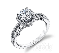 18 karat white gold engagement ring; known as   Hemera Bridal   by Parade Designs. Set with Cubic Ziconia center. Accented with round brilliant cut diamonds; 0.30 carat total weight; G/H VS-SI