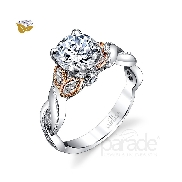 18 karat white gold diamond engagement ring by Parade set with: - 4 Marquise diamonds 0.22 cttw - 2 Round brillant cut diamonds 0.06 cttw