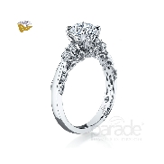 18 karat white gold diamond engagement ring by Parade set with: - 6 round brillant cut diamonds = 0.23 cttw