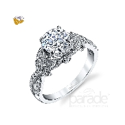 18 Karat white gold diamond engagemenr ring by Parade set with: - 1.0 ct CZ centre - 66 round brillant cut diamonds - 0.32 cttw
